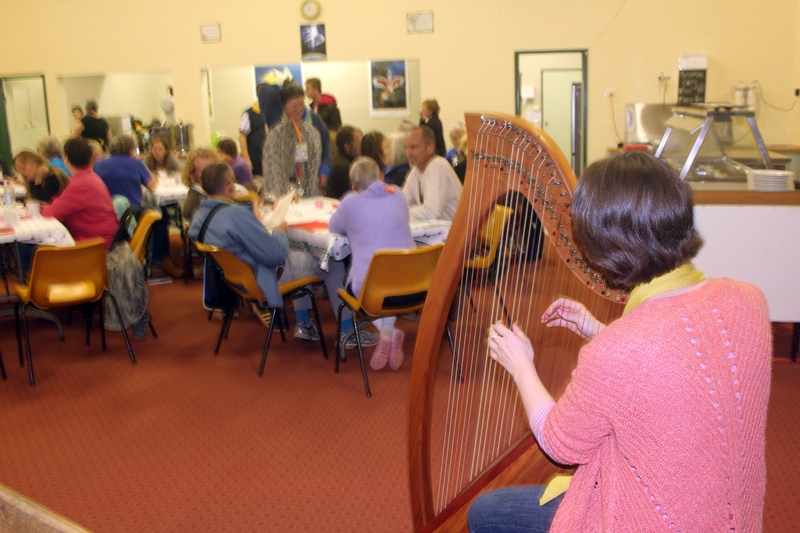Katie plays harp
